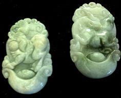 Natural Jadeite Light Celadon Green Jade Tablets/Pendants (7211) (Pair)