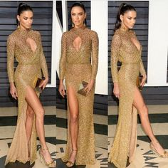 Adriana Lima wears Labourjoisie golden embellished floor length gown at the 2017 Vanity Fair Oscar Party.