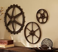 Rustic Gears #potterybarn - could go with clocks; also something to look for at auctions or farm shows.