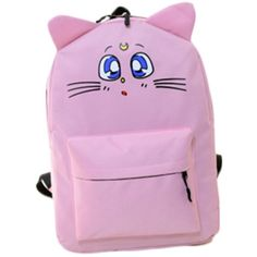 Life Star Cute Sailor Moon Luna Cat Cosplay Bag Backpack School Bag (105 BRL) ❤ liked on Polyvore featuring bags, backpacks, rucksack bag, backpack bag, cat bag, pink bag and cat backpack