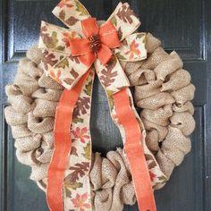 Fall time Orange Leaves Burlap Wreath