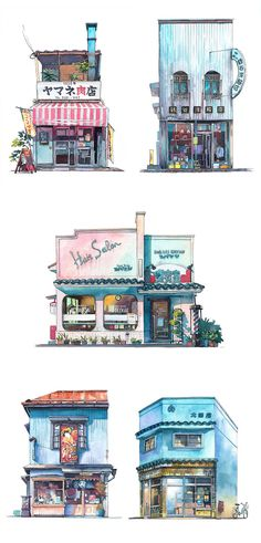 Polish animator Mateusz Urbanowicz captures Tokyo's storefronts in beautiful watercolor paintings.