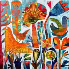 """Este MacLeod 12""""x12"""" acrylic on deep stretched canvas. 'Sunny garden'"""
