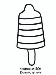 kleurplaat waterijsje Summer Camp Activities, Activities For Kids, Kindergarten Themes, Jaba, Colouring Pages, Red White Blue, Most Beautiful Pictures, Ladybug, Summertime