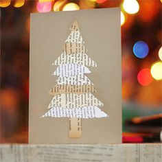 Simple Christmas cards made from the pages of old text books.