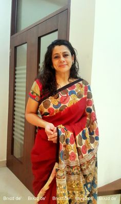 Pen Kalamkari Saree Paarvati Kiriyath Bharath Hastakala Kalamkari Winter Collection 2015