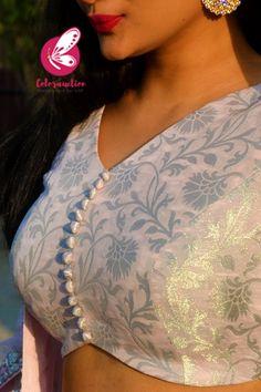 Blouse Designs High Neck, Simple Blouse Designs, Choli Designs, Stylish Blouse Design, Fancy Blouse Designs, Bridal Blouse Designs, Stylish Dress Designs, Brocade Lehenga, Kurti