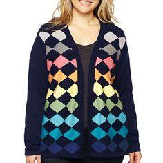 Liz Claiborne Argyle Cardigan Sweater - Plus - jcpenney, 2x