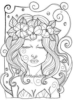 Blooming Printable Adult Coloring Page Pretty Girl Flower