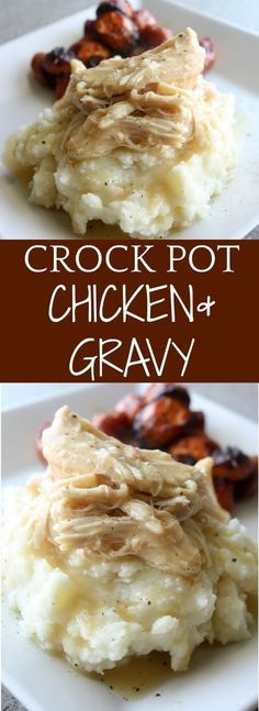 Crock Pot Chicken and Gravy. A comfort food recipe served over a scoop of buttery mashed potatoes. #crockpot #slowcooker (family recipes crockpot)