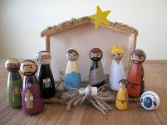 Peg Doll Nativity, cutest nativity set ever. @Melanie Otvos .  Check us out on etsy.