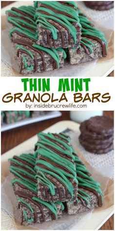 Thin Mint Granola Bars - mint cookies and a chocolate drizzle take these homemade granola bars over the top