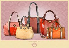 Warm mixed shades create a cheerful and, at the same time, elegant bag. Orange, pink and salmon-pink fabrics combined with brown leather details that give to these jaunty bags a more classic look. Moreover, gold metal details also contributes to enrich these models. www.orobianco.com