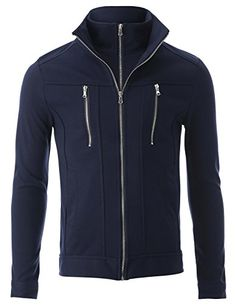 FLATSEVEN Mens Slim Fit Casual Jacket Double Zip-up High Neck (JK402) Navy, S FLATSEVEN http://www.amazon.com/dp/B00NHCPRAQ/ref=cm_sw_r_pi_dp_jvjwub1GJDNMG