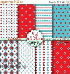 80%OFF - BIG SALE Blue Digital Paper, Commercial Use, Cute Pattern, Printable Paper, Red Paper, Red Pattern, Blue Pattern, Planner Accessori