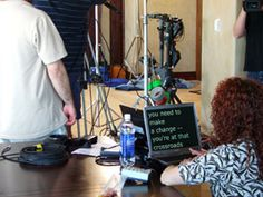 www.psavideo.com production activity with Robin getting the talent's teleprompter ready