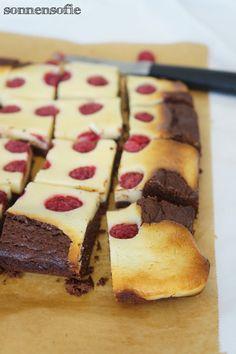 brownie cheesecake with fresh raspberrys