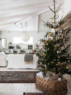 cozy scandinavian christmas tree living room | coco kelley
