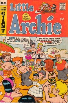 GCD :: Cover :: Little Archie #55 Archie And Betty, Archie Comics, News Stories, Comic Strips, Vintage Toys, Comic Books, Cover, Friends, Beach