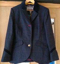 Joules Stowford Navy Tweed Wool Jacket size 16