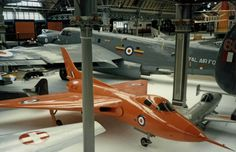 The second Avro 707A WZ736 displayed next to an Avro Shackleton at the Museum of Science and Industry in Manchester in 1985