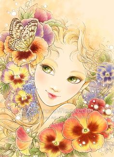 Limited Edition ACEO -Pansy -  Colorful Flower Girl Green Eyes - Edition of 15  - by Fantasy Artist Mitzi Sato-Wiuff