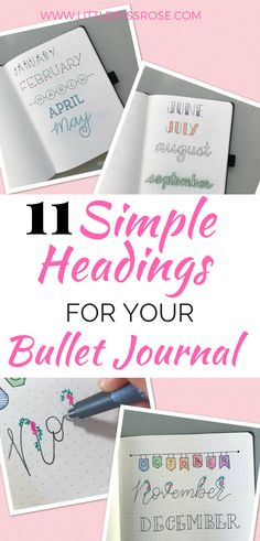 Learn how to create these simple hand-lettered headings for you bullet journal in this quick and easy tutorial (quick easy crafts) Bullet Journal Headings, Bullet Journal Font, Journal Fonts, Bullet Journal How To Start A, Bullet Journal Spread, Bullet Journals, Art Journaling, Brush Lettering, Bullet Journal Inspiration