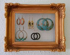 Distressed White Shabby Chic Repurposed Picture Frame Jewelry