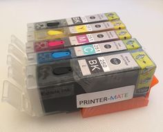Printer-Mate TM Canon Edible Refillable Ink 5 Pack for Canon PGI 250 CLI 251 HIGH YIELD MG5420, MG5520, MG6420, MG6620, MG7210, MX922 CAKE PRINTING With Resettable Chips >>> You can get more details by clicking on the image.