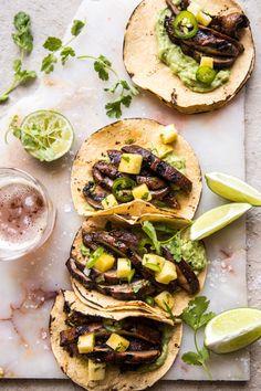 Asada Mushroom Tacos with Lime Smashed Avocado | halfbakedharvest.com #tacos #healthy #dinner #mexican via @hbharvest