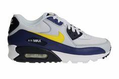 quality design 1cd74 23c2d Nike Air Max 90 Essential (Wit Blauw Geel) AJ1285 101 Heren Sneakers