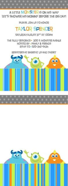 Monsters Inc Baby Shower Invitation. 30 Monsters Inc Baby Shower Invitation. Monster Birthday Invitations Little Monster Birthday Party Invites 20 Fill In Monster Party Invitations with Envelopes Monsters Inc Invitations, Monster Birthday Invitations, Little Monster Birthday, Monster Birthday Parties, Birthday Ideas, Baby Shower Fruit, Baby Boy Shower, Monsters Inc Baby Shower, Babyshower