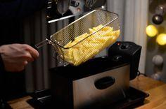 Making fries.