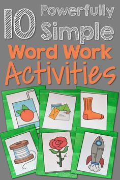 Finding 10 powerfully simple word work activities does not have to be as hard as you think! Sometimes a picture IS worth a thousand words! Here's some tips for kindergarten and first grade. Sight Word Activities, Alphabet Activities, Language Activities, Kindergarten Literacy Stations, In Kindergarten, Kindergarten Vocabulary, Literacy Centers, French Language Learning, Spanish Language