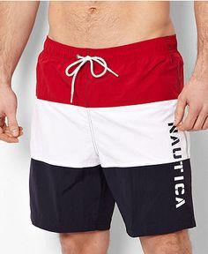 4f5245d3b7842 Nautica Swimwear, Front Horizontal Colorblock Swim Trunk & Reviews -  Swimwear - Men - Macy's
