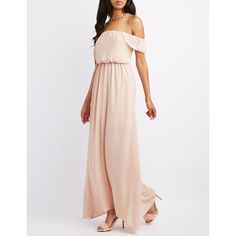 Charlotte Russe Ruffle Off-The-Shoulder Maxi Dress ($50) ❤ liked on Polyvore featuring dresses, gowns, peach whip, long white skirt, long maxi skirts, long prom dresses, long evening gowns and evening maxi dresses