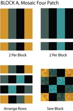 Colorful and Fun, Both Words Describe the Easy Mosaic Four Patch Quilt: Make Mosaic Four Patch 'A' Quilt Blocks