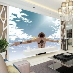 Japanese anime Wallpaper One Piece photo wallpaper Blue sky Wall Mural Boys Kid Bedroom Cartoon Room decoration Home decor Fire
