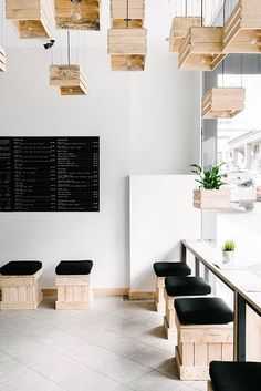 Pressed juices, bar à Melbourne #cajas #interiorismo #diseño