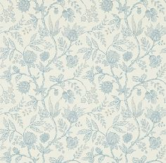 Solaine (214087) - Sanderson Wallpapers - A stylised interpretation of an old Indienne block printed fabric design – creating an all over floral trail. Shown in drawn in blue on an off white colourway. Please request sample for true colour match. Wide width. Paste the wall.