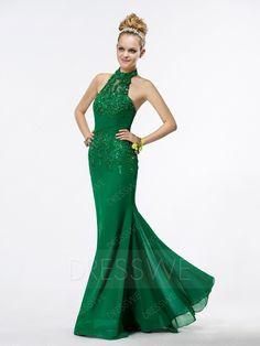 #BFCM #CyberMonday #DressWe - #DressWe Charming Halter Sleeveless Trumpet Floor-length Prom Dress - AdoreWe.com
