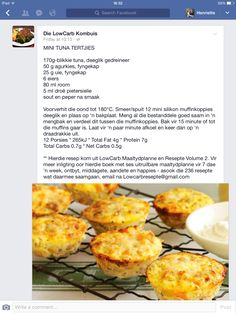 Tuna koekies Tuna Recipes, Quiche Recipes, Seafood Recipes, Cooking Recipes, Recipies, Savory Snacks, Healthy Snacks, Healthy Recipes, Healthy Eats