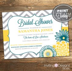 Wedding Shower Invitation, Bridal Shower Invitation, Chevron, Floral, Teal, Yellow, Gray, Grey, Printable (Custom Order, INSTANT DOWNLOAD) by InvitingDesignStudio on Etsy