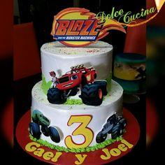 Blaze Birthday Cake, Third Birthday, 2nd Birthday Parties, Baby Birthday, Baby Boy Cakes, Cakes For Boys, Bolo Blaze, Blaze And The Monster Machines Cake, Blaze Cakes