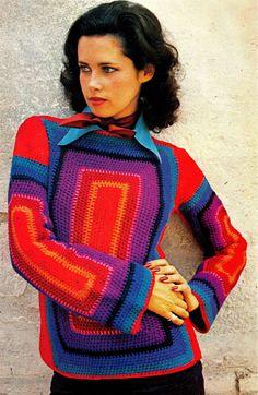 WHITES Vintage 70s Crochet pullover | PDF Pattern