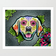 Day of the Dead Golden Retriever Sugar Skull Dog art print by Pretty In Ink.
