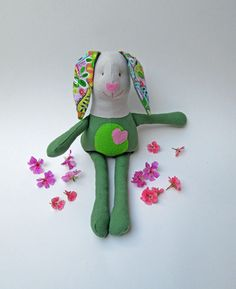 Free Shipping.  Easter bunny.  Spring bunny. Stuffed bunny. Stuffed toy. Stuffed animal. Green bunny with flowered ears by ThePaperNeedle on Etsy (null)