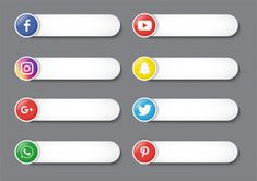 Collection Of Social Media Lower Third Isolated On Gray Background. Design Do Youtube, Youtube Banner Design, Youtube Banner Template, Iphone Background Images, Studio Background Images, Gray Background, Social Media Logos, Social Media Icons, Infographic Template Powerpoint