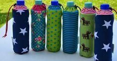 Jetzt weiß jeder sofort, wem welche Flasche gehört!  Die Bezüge passen sich der Flasche an, egal ob 0,5l oder 0,7l, die Flasche ist hübsch e...