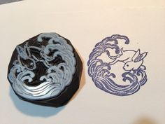 """Hand carved stamp """"Wave and rabbit"""""""